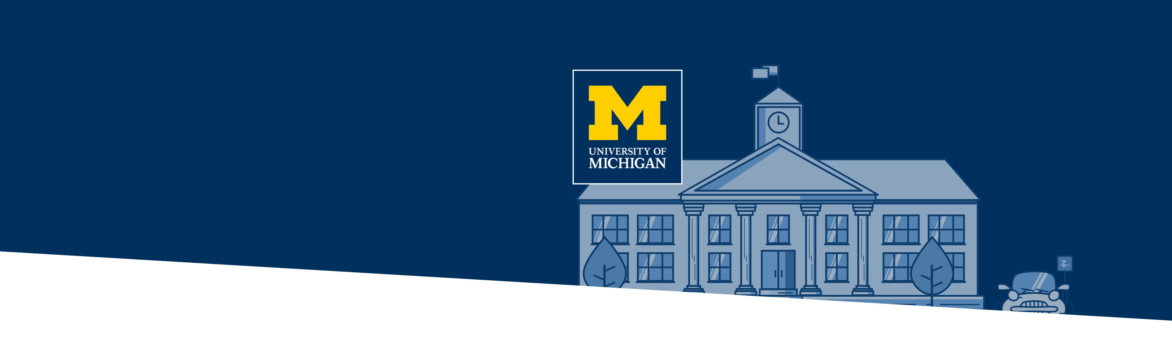 University of Michigan building and logo