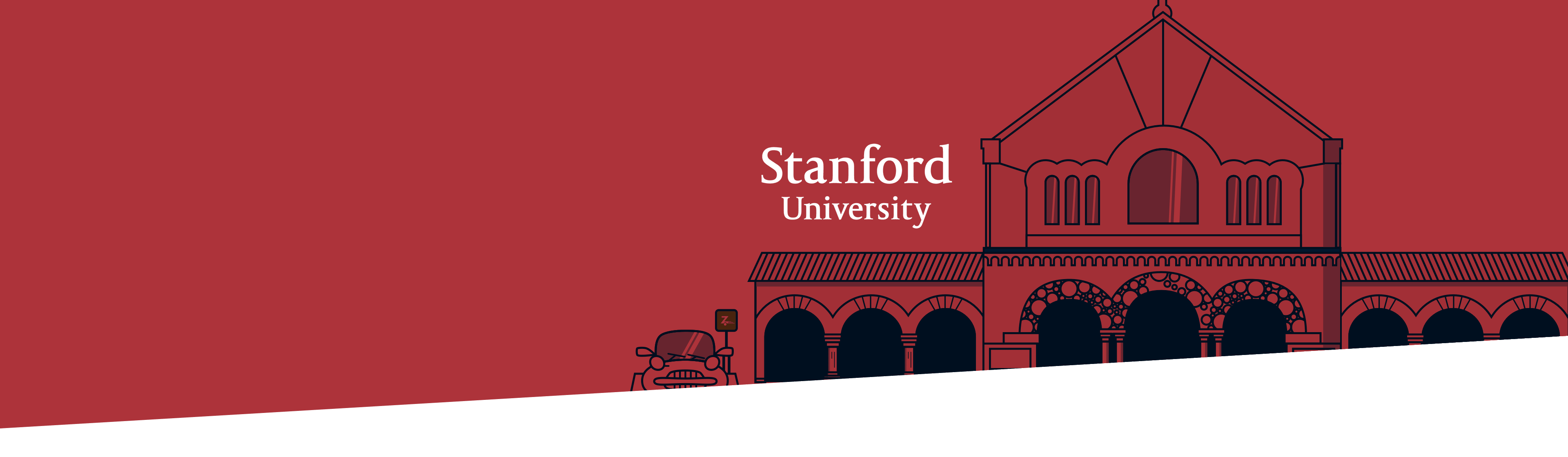 Stanford University building and logo