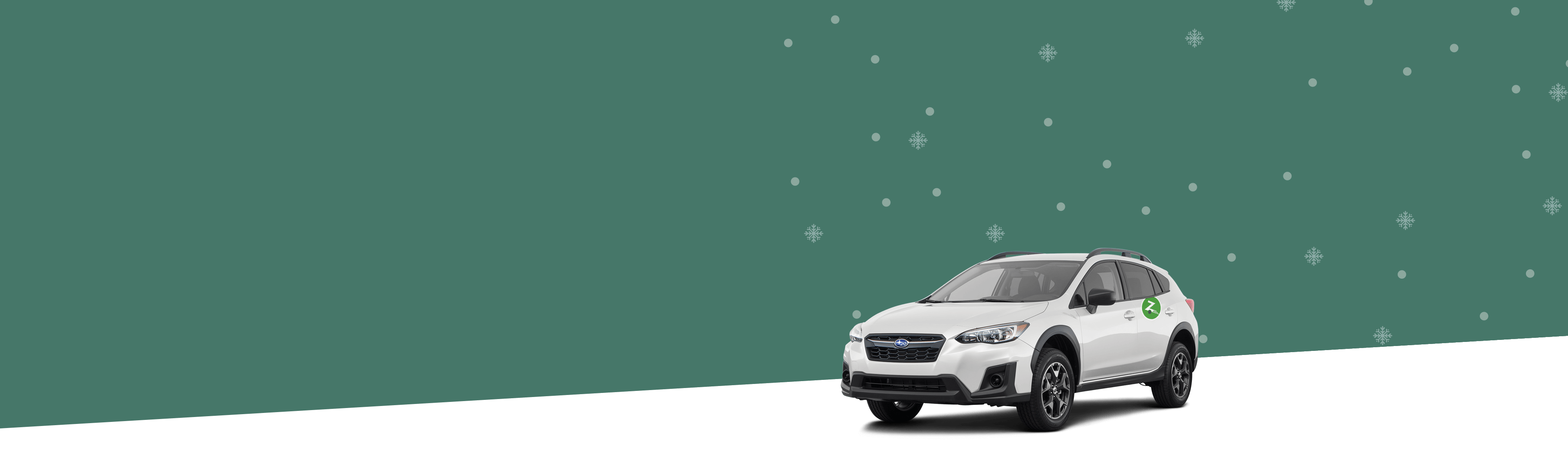 Silver car profile over a green background with silver snowflakes