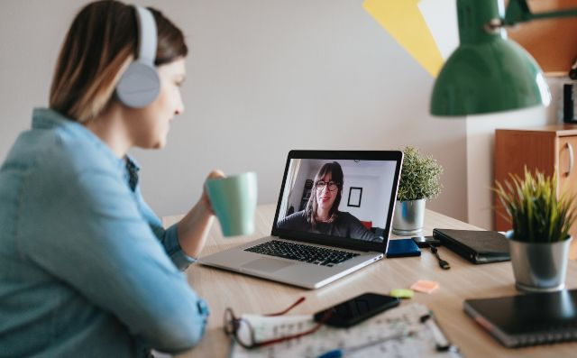woman wfh on a video call