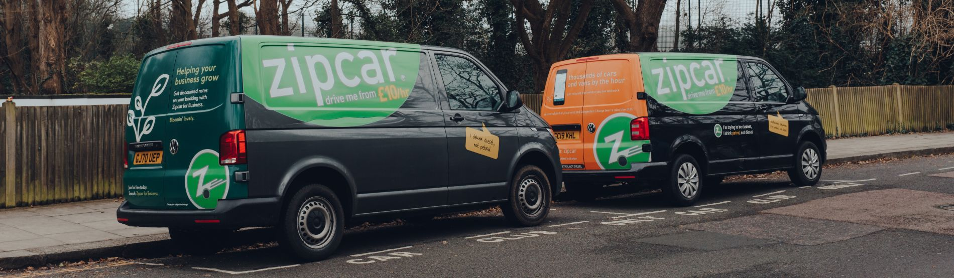 Zipcar vans parked on a street in Muswell Hill, North London, UK.