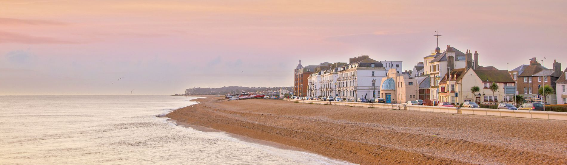View of Deal beach front and town from the pier