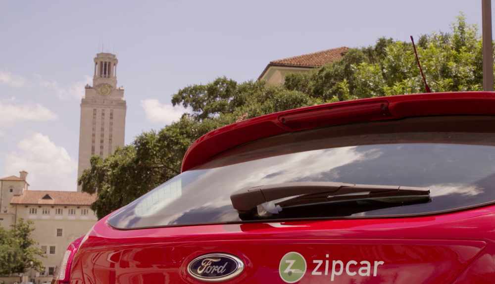 back of a red ford zipcar