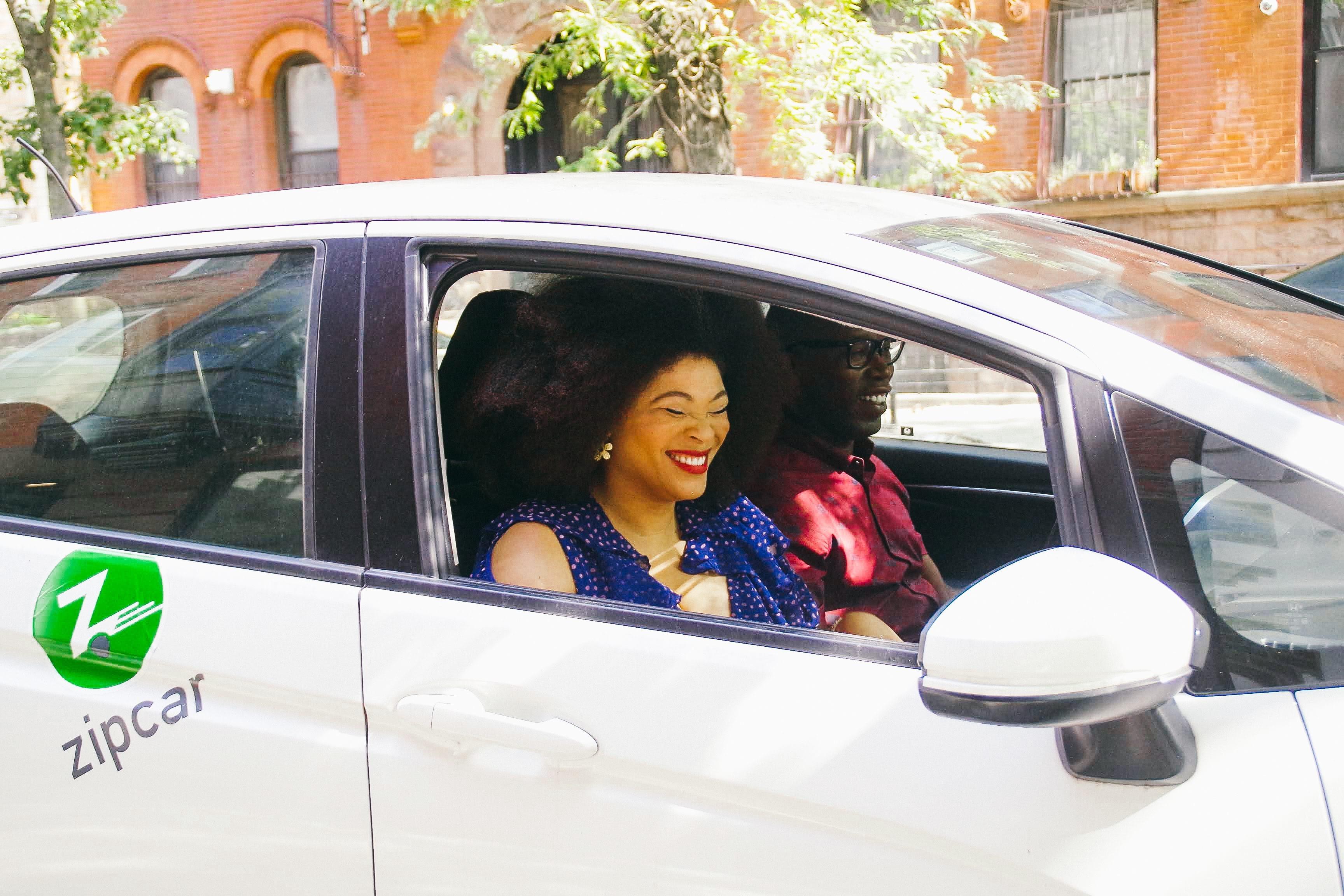 zipcar couple driving