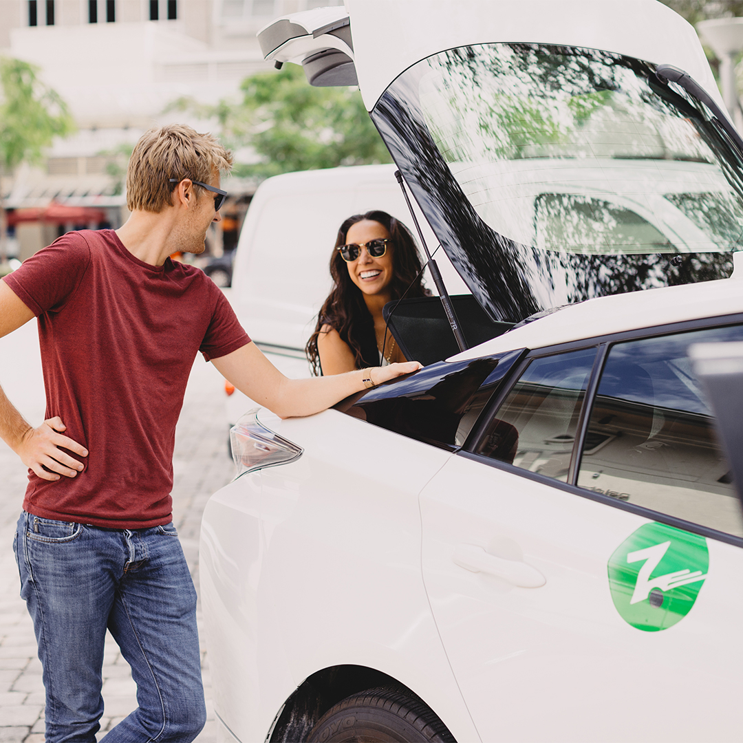 zipcar couple at door