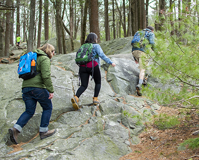 three people hiking on rocky ground in the woods