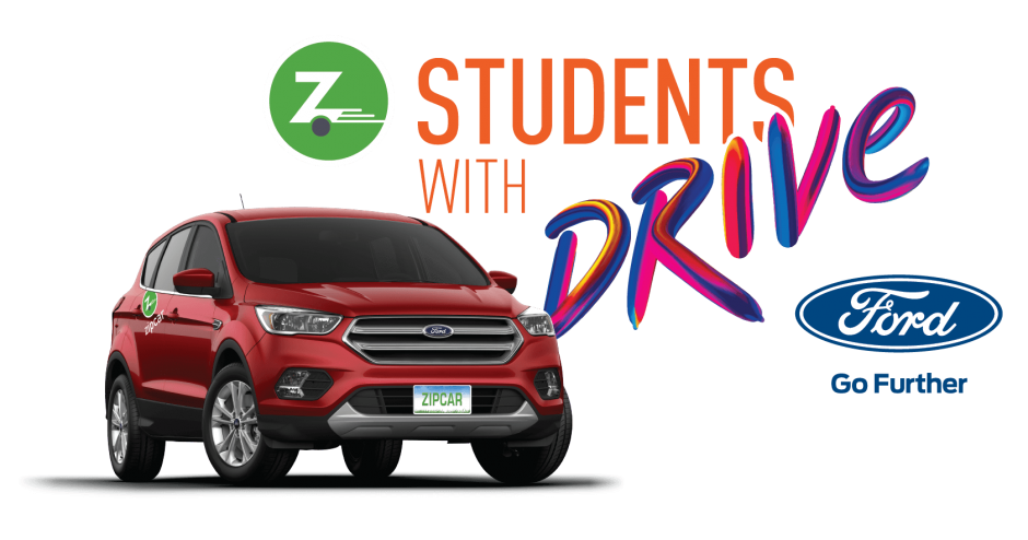 Students with Drive logo with red car