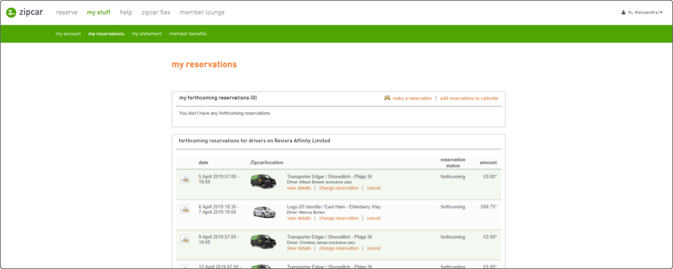 screenshot of the logged in business admin page with a list of cards and pricing