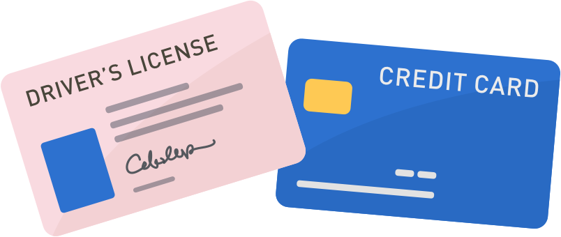 drivers license and credit card icons
