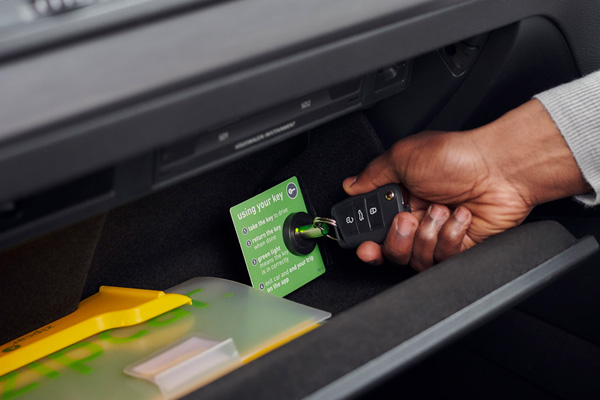 Zipcar keys in glove box