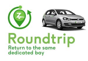 zipcar round trip return to the same dedicated bay
