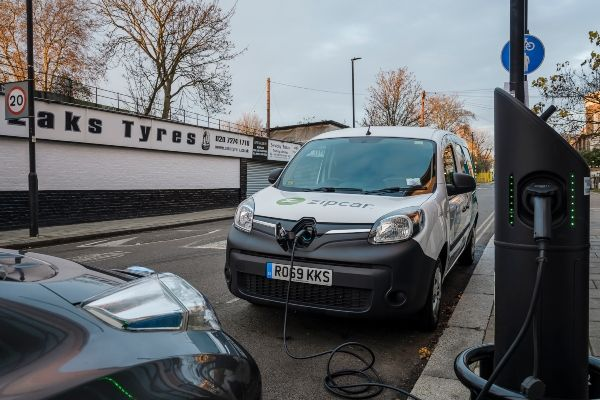 Zipcar electrc van parked up and charging