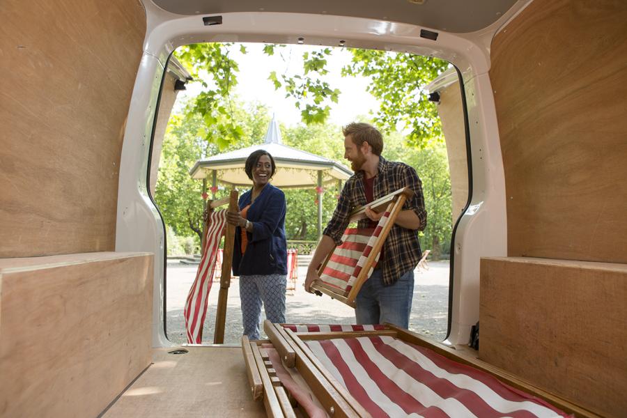 inside a van