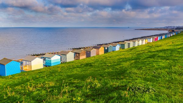 backs of the beach huts in whitstable