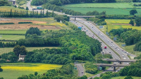 view of a motorway running through the cotswolds