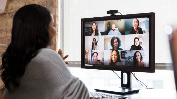 woman having a virtual meeting over zoom