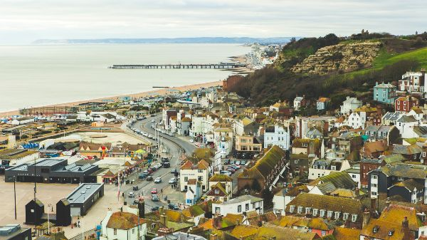 aerial shot of hastings old town and beach front