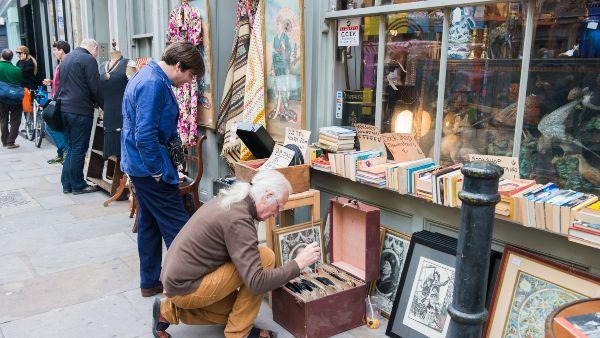 searching for antiques at brick lane vintage market