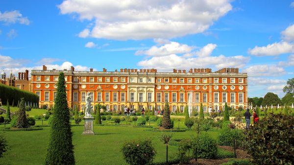 Hampton court palace in the sunshine
