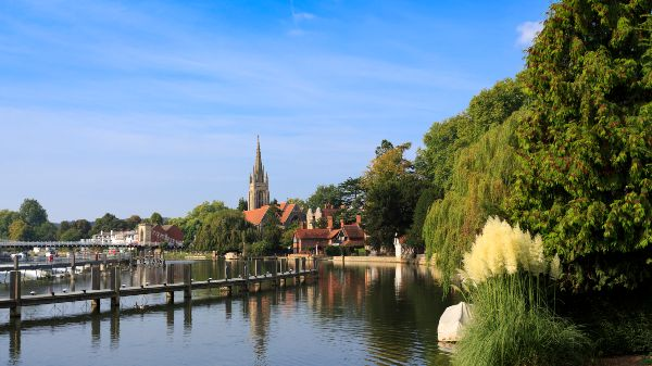 View of Marlow chruch from the lock