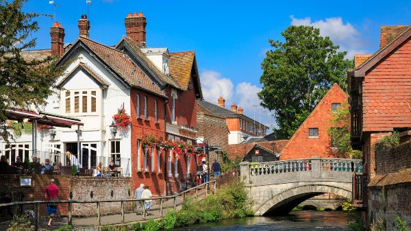 Winchester in Hampshire from the riverbanks