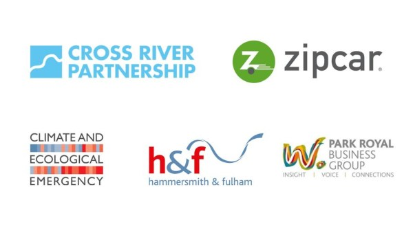 Park royal business group, zipcar, H&F and cross river partnership logos