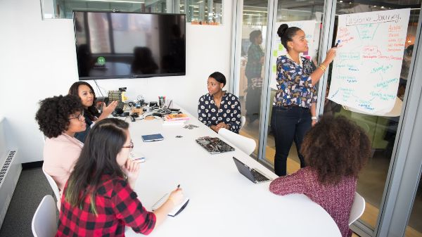 brainstorming team meeting