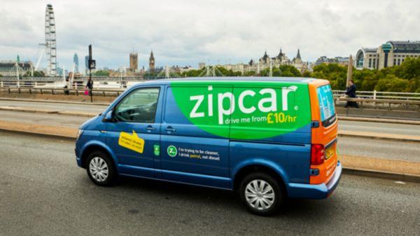 zipcar travelling over waterloo bridge