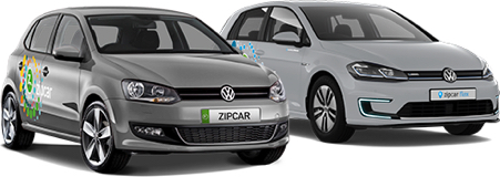 two zipcars in profile car silver